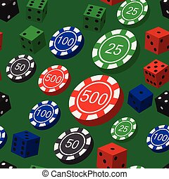 Poker Chips and Dice Seamless Pattern