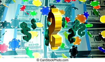 Poker chips and stacks of money looping animated background...