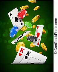 Poker chips casino green poster. Gamble cards and coins...