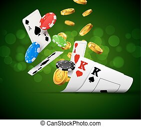Poker chips casino green poster. Gamble cards and coins success winner royal casino background