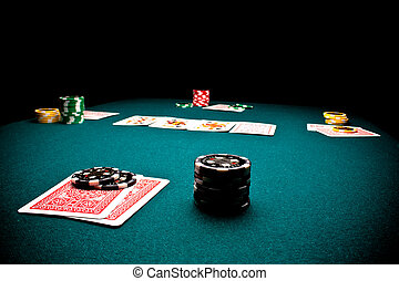 Poker chips - Close-up of poker players gaming table