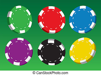Collection of coloured casino chips, vector illustration.