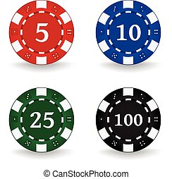 Poker Chips Denominations - Set of poker chips with...
