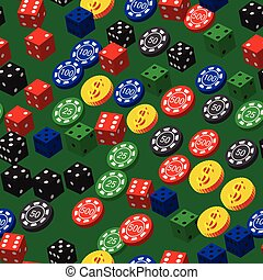 Poker Chips Dice and Coins Seamless Pattern