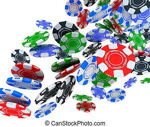 Poker chips falling on white