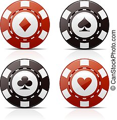 Poker Chips - Four poker chips with card suit signs for...