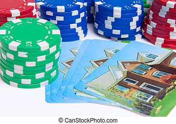 Poker Chips House Playing Cards Isolated Gambling
