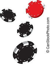Poker chips - Illustration of Falling Black and Red Poker...