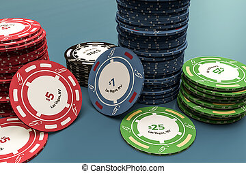 poker chips isolated on blue background 3d illustration