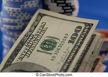 Poker chips & money