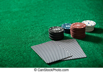 Poker chips on a poker table