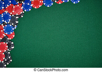 Poker chips on table