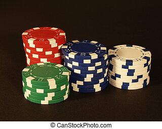 Poker chips - Packs of red, green, blue and white poker...