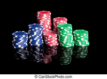 Poker Chips - Pile of colored poker chips