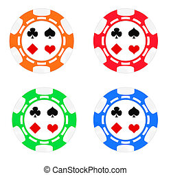 Poker chips - Set color poker chips. Isolated on white...