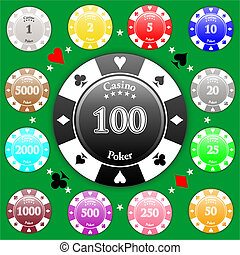 Poker Chips - Set of poker chips of value from 1 to 5000.