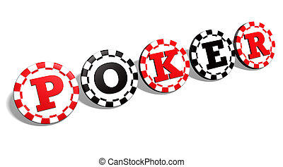 Poker Chips Sign - Poker sign advertising in red and black...