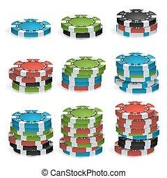 Poker Chips Stacks Vector. Plastic. White, Red, Black, Blue, Green Casino Chips Illustration. For Online Casino, Gambling Club, Poker, Billboard.