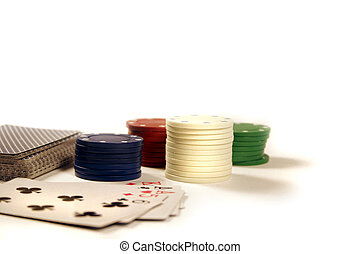 Poker Chips - Various Poker chips and cards