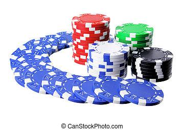 Poker Chips on White Background
