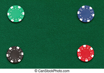 poker chips on a table with space for your text