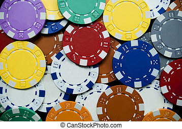 poker chips - many colored poker chips