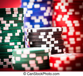 poker chips - chips for poker on red table