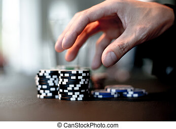 Poker chips - Reaching out for poker chips