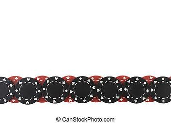 Poker Chips - Poker chips border pattern isolated on white