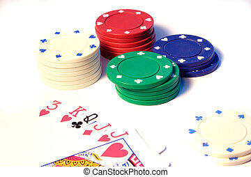 Poker Chips - Various Poker chips and cards focus on the...