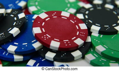 poker chips - Colored many poker chips, extra close up