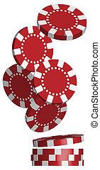 Poker Chips - Illustration of Falling Red Poker Chips...