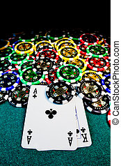 poker chips with AK - Big slick, Ace-King, surrounded by ...