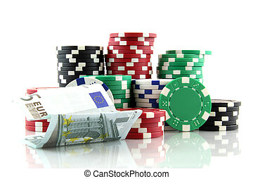 poker chips with banknote