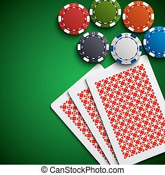 Poker chips with the cards on the table