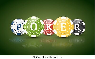 Poker chips with word POKER. Casino concept of colorful chips.