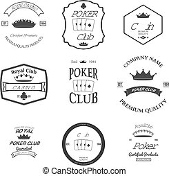 poker club and casino emblems set isolated vector