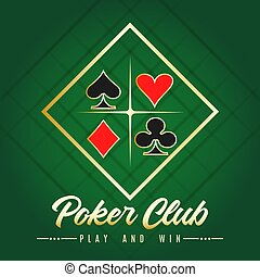 Poker Club Emblem with Four Card Suits