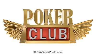 Poker club - gold emblem, isolated