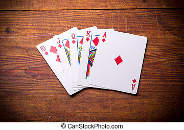 Royal Flush diamonds - Poker. Combination Royal Flush...