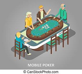 poker, concept, mobile, isométrique, illustration, vecteur