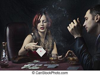 poker, coppia, gioco