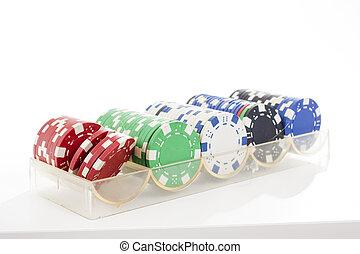 poker, coupure, coupure, use., pièces, photo., isolé, arrière-plan., studio, facile, closeup, blanc, path., coupure, dehors.