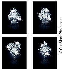 Poker diamonds card, vector