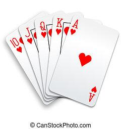 poker, directement, royal, main, embraser, cartes, cœurs,...
