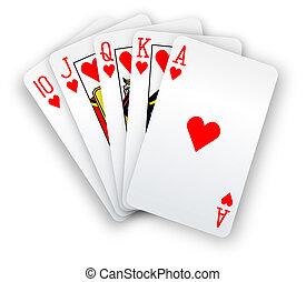 poker, diritto, mano, scorrere, cartelle, cuori