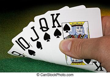 poker, diritto, -, mano, scorrere, vincente
