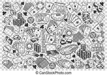 Poker doodle set