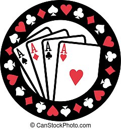 Poker emblem with four aces playing cards suits