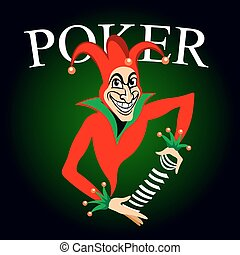 Poker emblem with joker and playing cards
